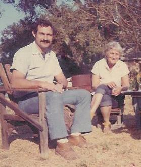 SAM ERVIN at Meher Mount with Agnes Baron in 1969. (Photo: Martha Aubin)