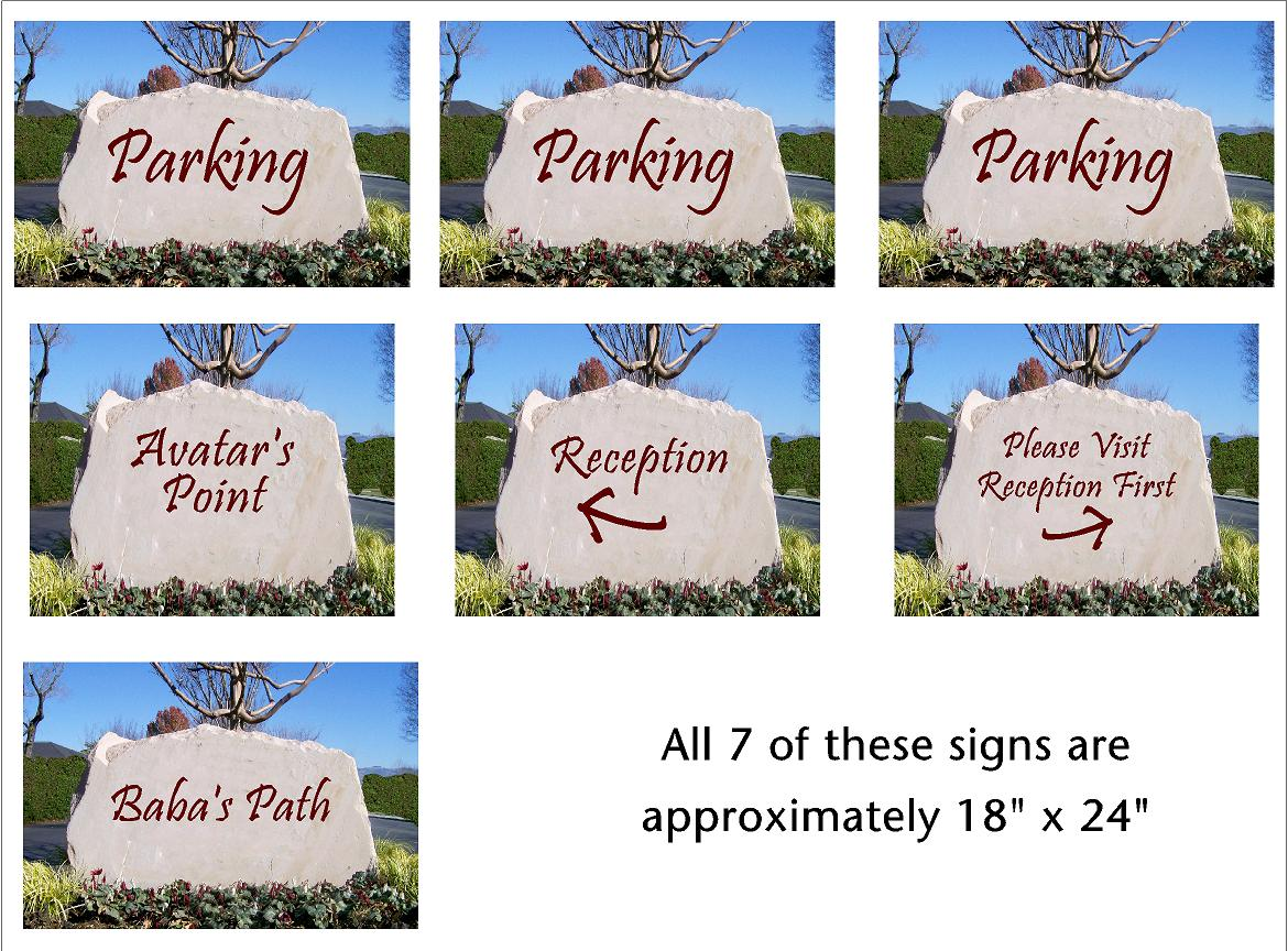 ILLUSTRATIONS of the stone signs that will help guide visitors at Meher Mount. (Artwork: Nancy Pinckert, 2016)