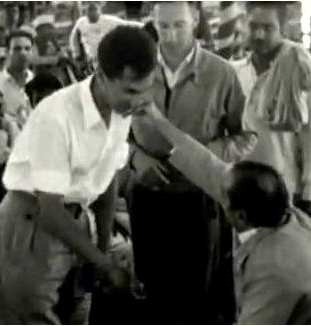 """BILL LE PAGE receiving Avatar Meher Baba's blessing in 1954 at the gathering that has come to be known as the """"Three Incredible Weeks."""""""