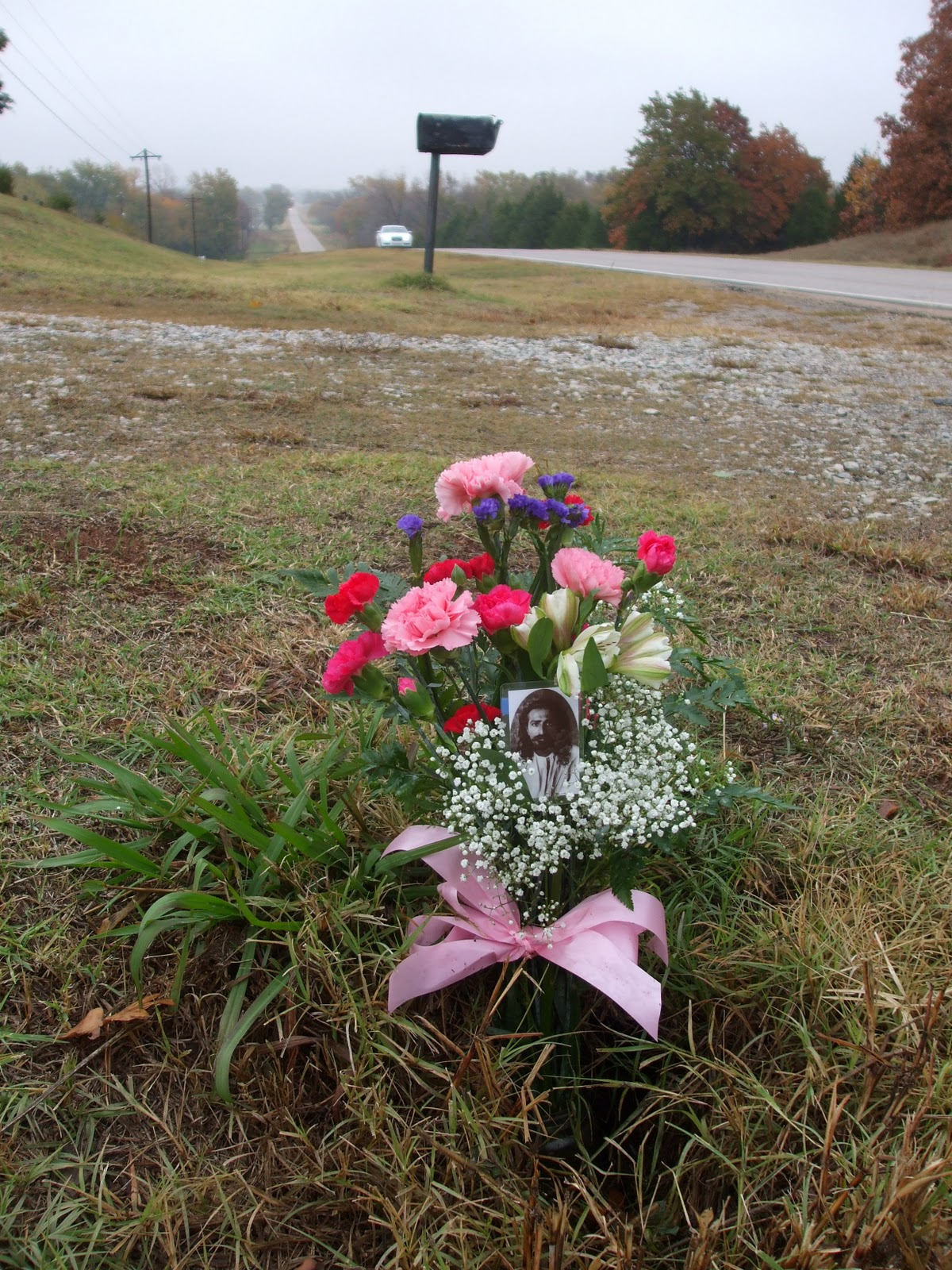 FLOWERS at the site of Avatar Meher Baba's 1952 automobile accident near Prague, OK.