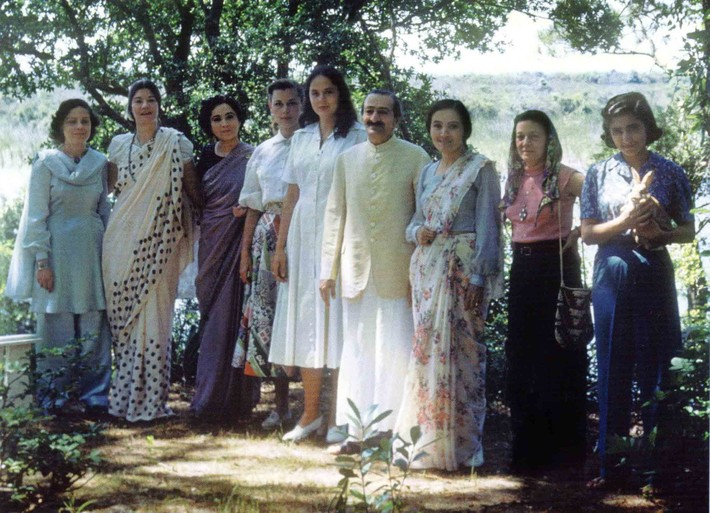 """AVATAR MEHER BABA with many of His women followers at the Meher Spiritual Center in Myrtle Beach, SC, in 1952. (Left to right): Adele Wolkin, Filis Frederick, Mani S. Irani (Meher Baba's sister), Rita """"Sparkie"""" Lukes, Charmian Duce Knowles, Meher Baba, Mehera J. Irani, Delia DeLeon, and Meheru Irani. (Photo: Sufism Reoriented)"""