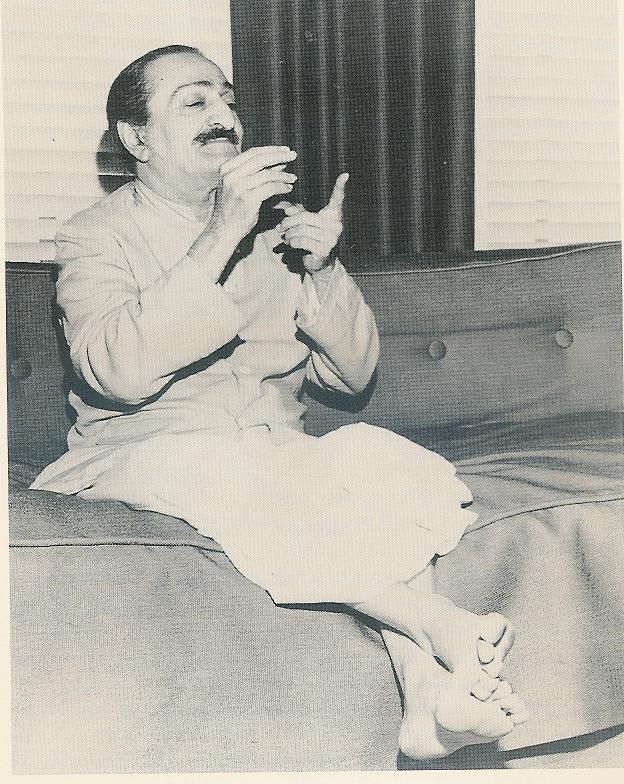 AVATAR MEHER BABA using hand gestures to communicate to His followers. (Photo: Los Angeles Times, 1956.)