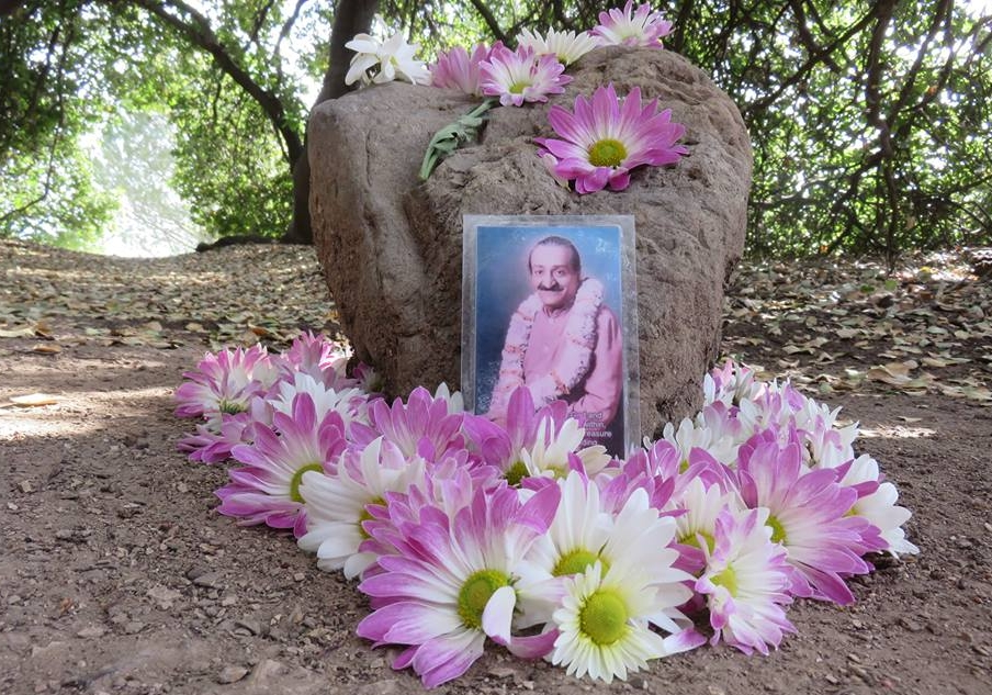 AVATAR MEHER BABA'S photo under Baba's Tree at Meher Mount. The heart rock and flowers mark the spot where He sat during His 1956 visit. (Photo: Wayne Myers)