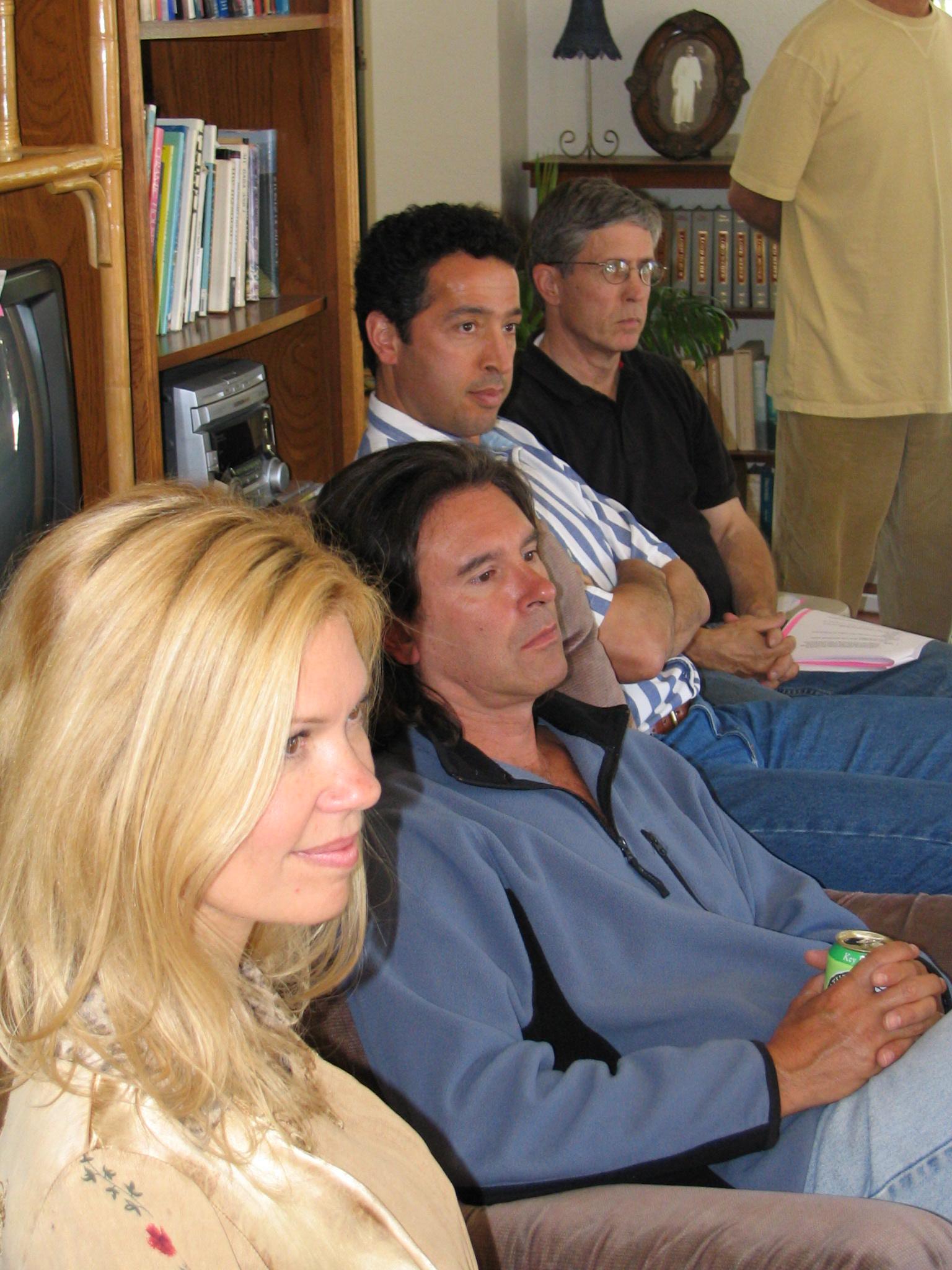 A LONG-RANGE PLANNING DISCUSSION in 2004. (Left to right) Elizabeth Arnold, Manager/Caretaker; Ray Johnston, Manager/Caretaker; Jamshed Ebrahimzadeh, Board Member; and Bing Heckman, Board Member. (Photo: Sam Ervin)