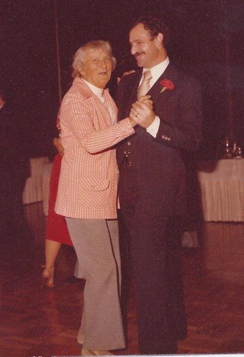 AGNES BARON and Sam Ervin dancing at Sam's wedding to Margaret Magnus in 1979.