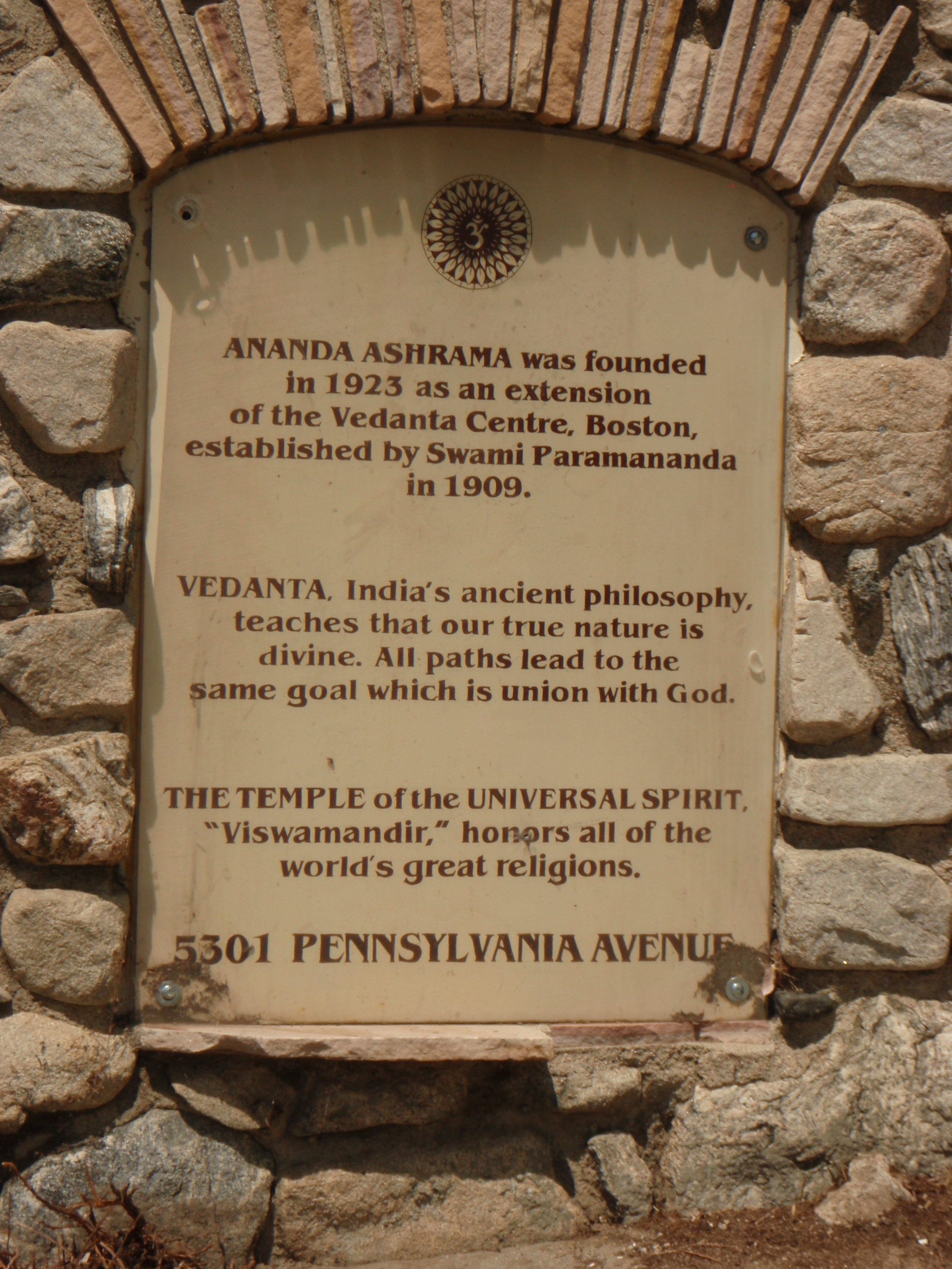A PLAQUE at the entrance to the Vedanta  Ananda Ashrama  in La Crescenta, CA, where Agnes Baron was living when she first heard about Avatar Meher Baba.This Ashrama was next to the New Life Center where Jean Adriel was working on her book,  Avatar, The Life Story of the Perfect Master Meher Baba , published in 1947. (Photo: Sam Ervin, 2012)