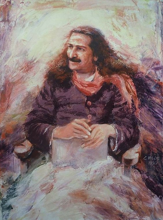 AVATAR MEHER BABA. Painting by Charles Mills of  Mills Studio .