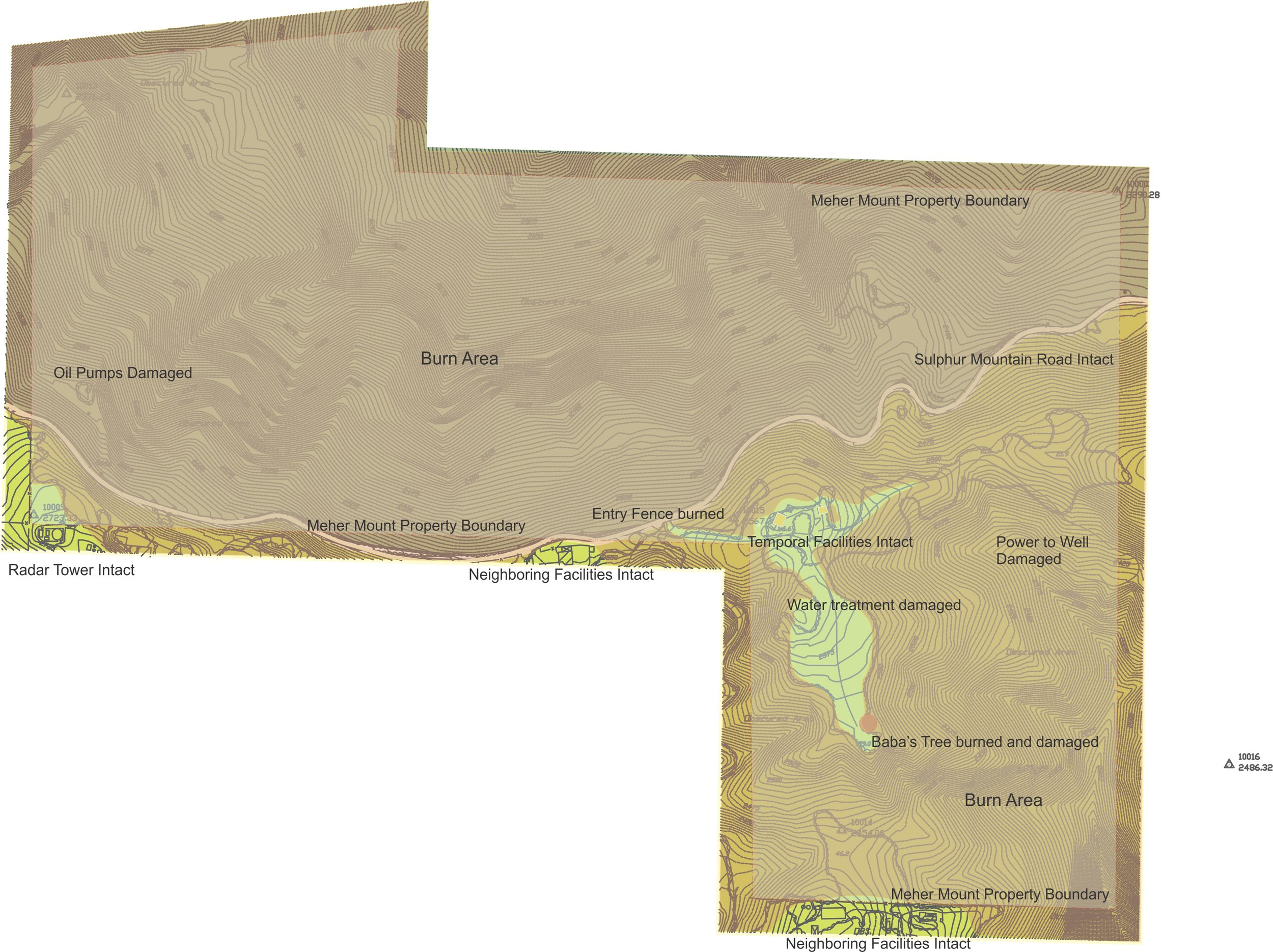 A MAP OF MEHER MOUNT highlighting the burned areas from the 2017 Thomas Fire. (Map: Byron Pinckert, December 21, 2017)