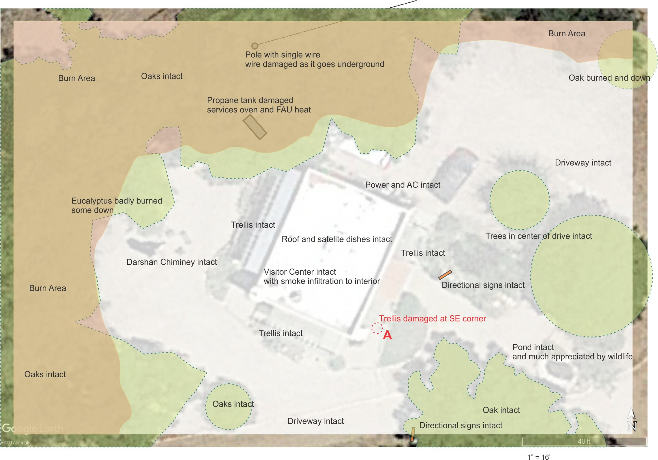 MAP OF THE VISITOR CENTER area at Meher Mount highlighting damage from the 2017 Thomas Fire. (Map: Byron Pinckert, December 21, 2017)
