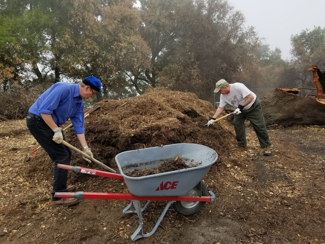 ERIC TURK AND JIM WHITSON load the wheelbarrow with mulch to spread under Baba's Tree at Meher Mount to help hold in the moisture. (Photo: Margaret Magnus, March 10, 2018)
