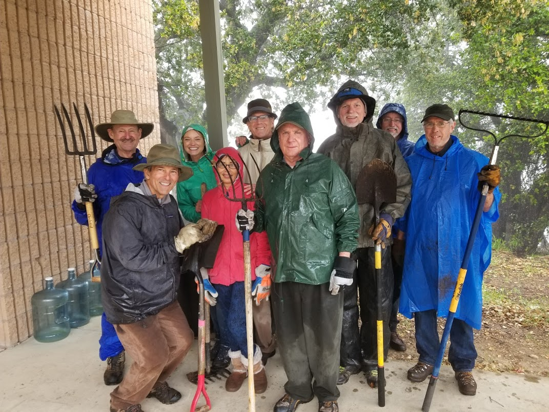 DAY ONE of the Restoration Weekend. (Left to right, back row): Sam Ervin, Lizzy Morrison, Tim Hurley, James Whedon, Eric Turk, Bing Heckman. (Left to right, front row): Kyle Morrison, Oanh Hurley and Jim Whitson. Not pictured are Cassandra Bramucci, who is setting up for lunch, and Lisa Morrison, who is making homemade chocolate chip cookies. (Photo: Margaret Magnus, March 10, 2018)
