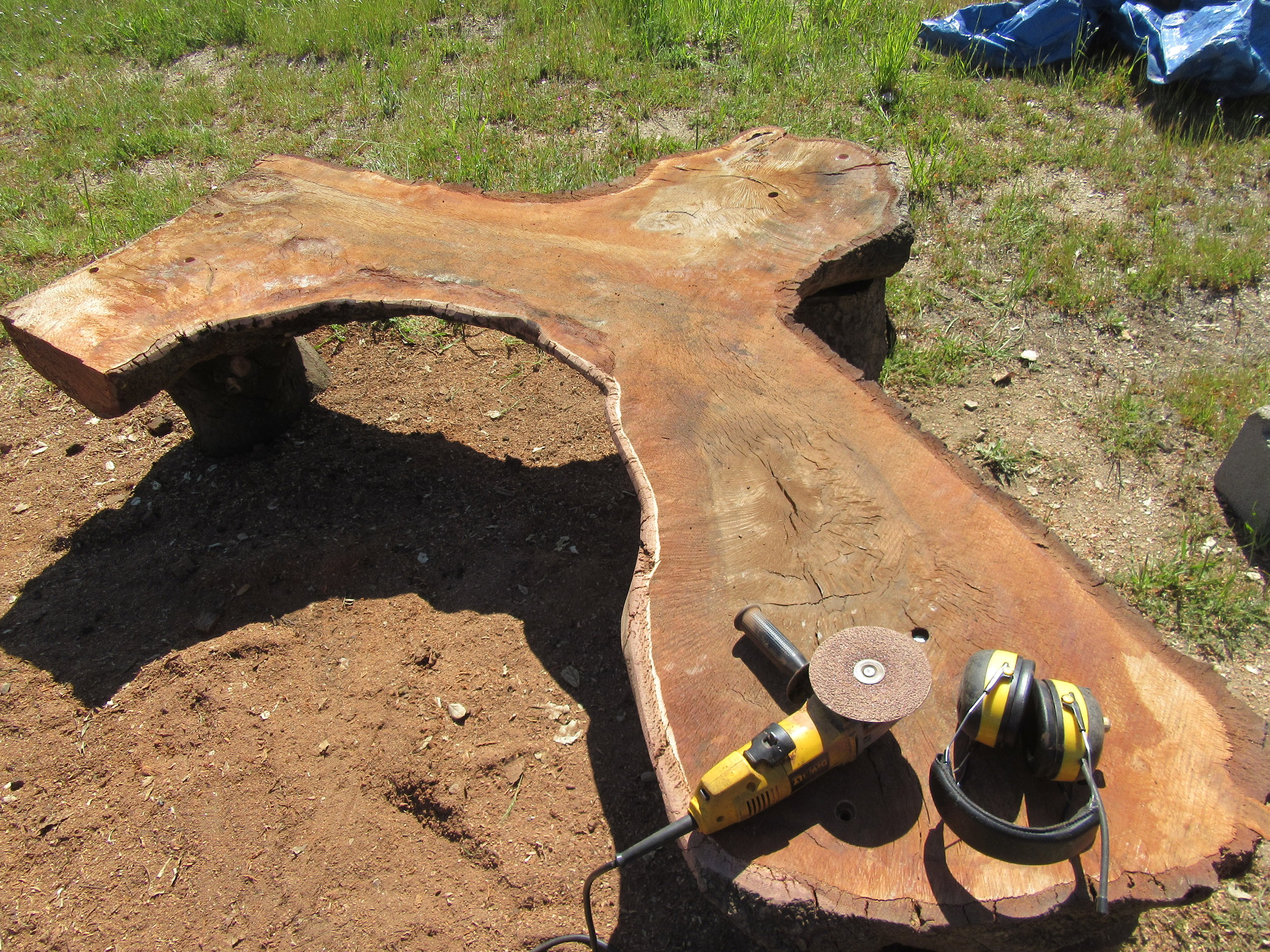 A SANDER AND NOISE PROTECTORS are some of the tools used by woodworking artisan Harold Greene to create the benches made from the fallen wood of Baba's Tree at Meher Mount. (Photo: Sam Ervin, April 20, 2018)