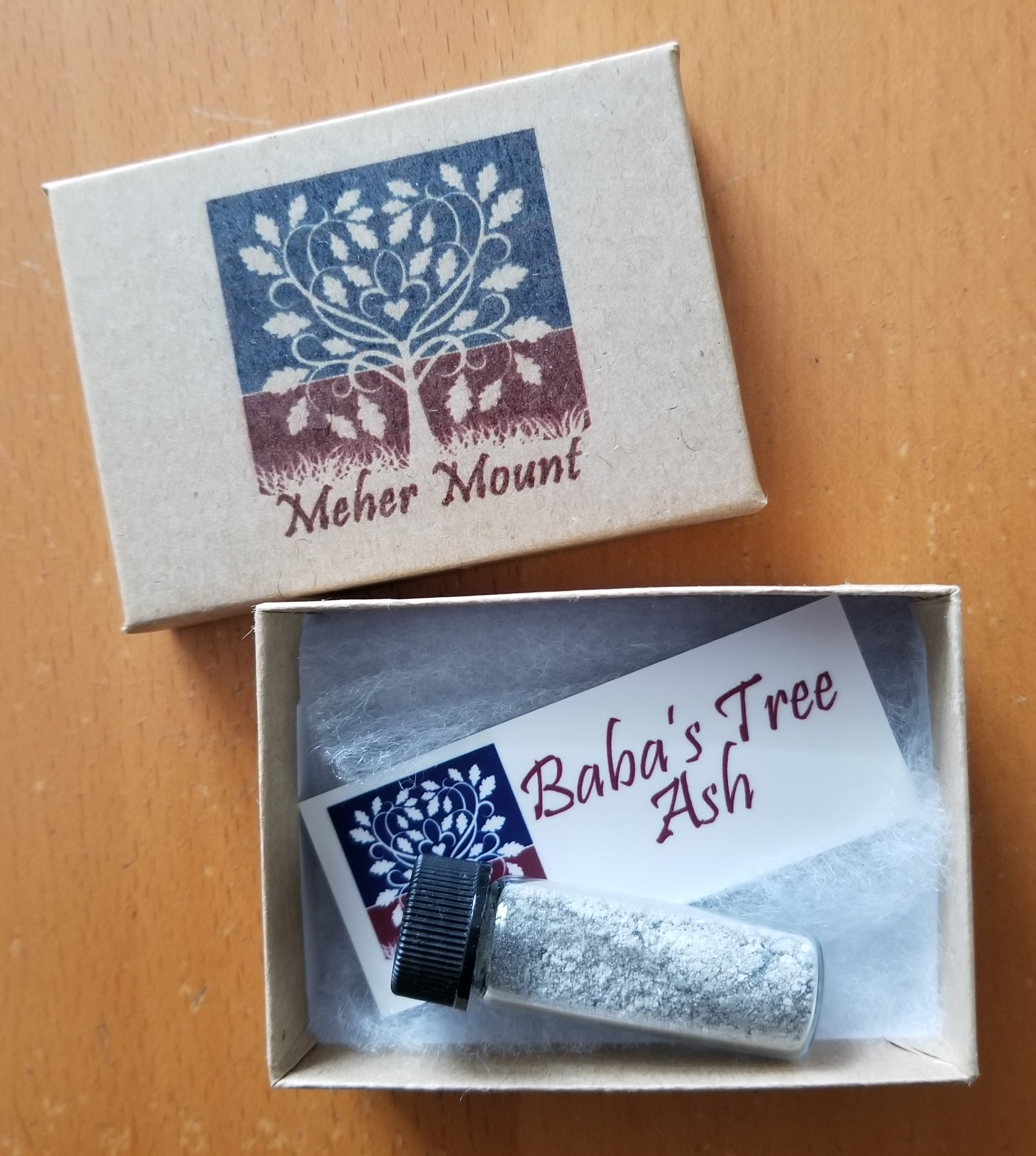 KEEPSAKES VIALS of ash from Baba's Tree are a thank you to all donors and volunteers supporting Meher Mount in the year of the Thomas Fire. (Photo: Margaret Magnus, May 9, 2018)