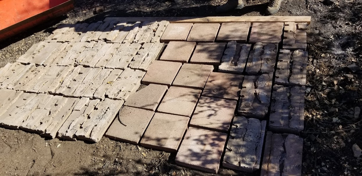 """""""NEW"""" STORAGE PAD to store the salvaged wood from Baba's Tree is created from recycling used and unused building materials from the Topa Topa Patio and Workshop. (Photo: Margaret Magnus, January 7, 2018)"""