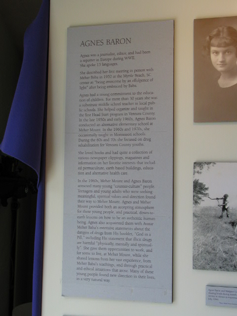 "A SECTION OF THE DISPLAY PANEL for ""The Essence of Ojai"" exhibit at the Ojai Valley Museum in 2003. The photos are of Agnes Baron (1907-1994), co-founder and lifetime caretaker of Meher Mount. (Photo: Sam Ervin)"