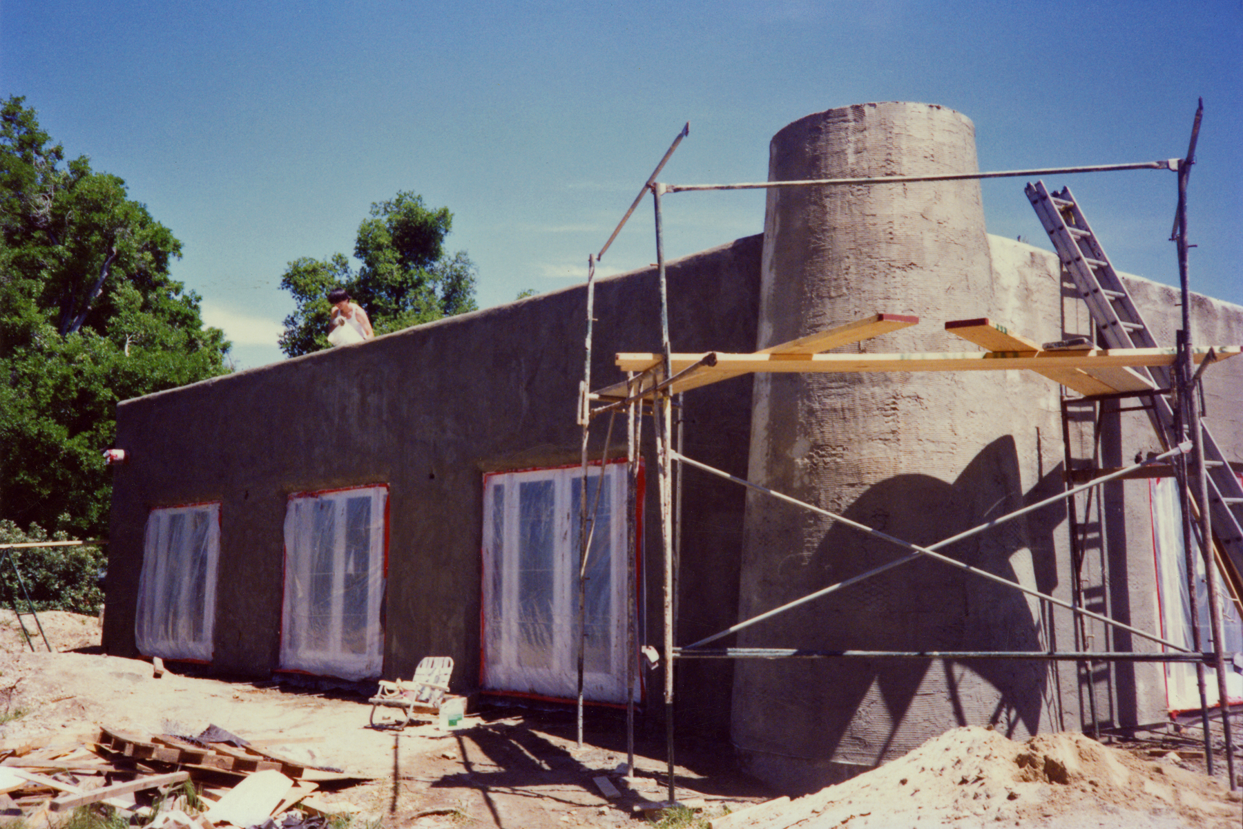 CONSTRUCTION of the Visitor Center and Caretaker Quarters in 1993.