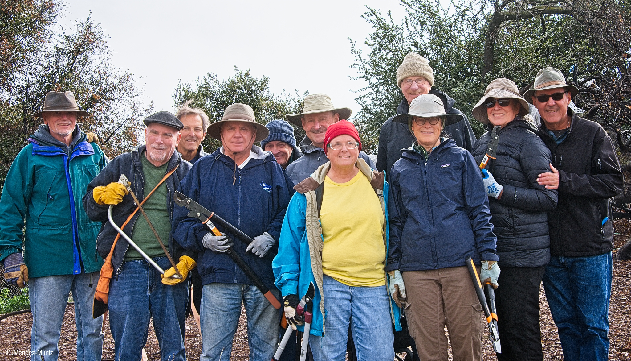 THE GREAT  DHUNI  STICK HARVEST volunteers at Meher Mount on January 12, 2019. (Left to right) Jim Whedon, David Springhorn, Kyle Morrisson, Jim Whitson, David Trombley, Sam Ervin, Cassandra Bramucci, Fred Stankus, Kristina Somma, Agnes Montano, and Juan Mendez. Margaret Magnus is taking the photo, and Robert Turnage is at the Visitor Center greeting guests. Lisa Morrison, Kristen Tarpey, and Mike Tarpey came later in the afternoon.