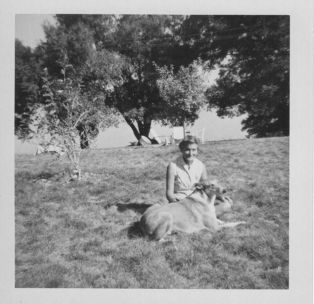 AGNES BARON with her dog, Kali, who was also at Meher Mount when Meher Baba visited in 1956. Agnes said that Meher Baba indicated Kali would be a human in his next lifetime. (Photo: Lud Dimpfl, November 1956, courtesy of his daughter Joan Dimpfl Harland)