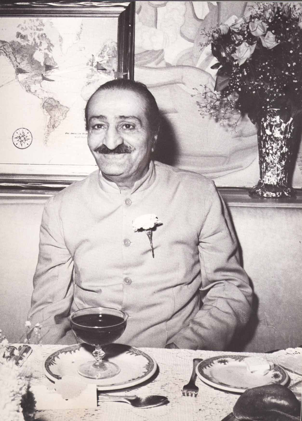 AVATAR MEHER BABA at the reception for Him at Longchamps Restaurant in New York City in 1956. (Image:  Meher Baba Travels )
