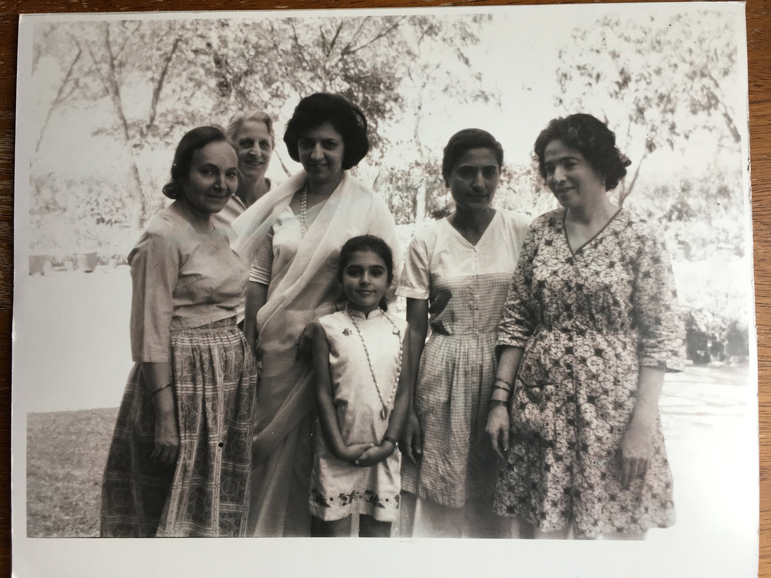 SHIREEN BONNER (center) at age seven with the women  mandali  and her mother. (Left to right): Mehera J. Irani, Rano Gayley, Franey Irani (her mother), Meheru Irani, and Mani S. Irani (Meher Baba's sister and Shireen's auntie). Shireen will share her memories of being with the women during her visits to see Meher Baba at the August 3, 2019 celebration at Meher Mount. (Photo: Shireen Bonner)