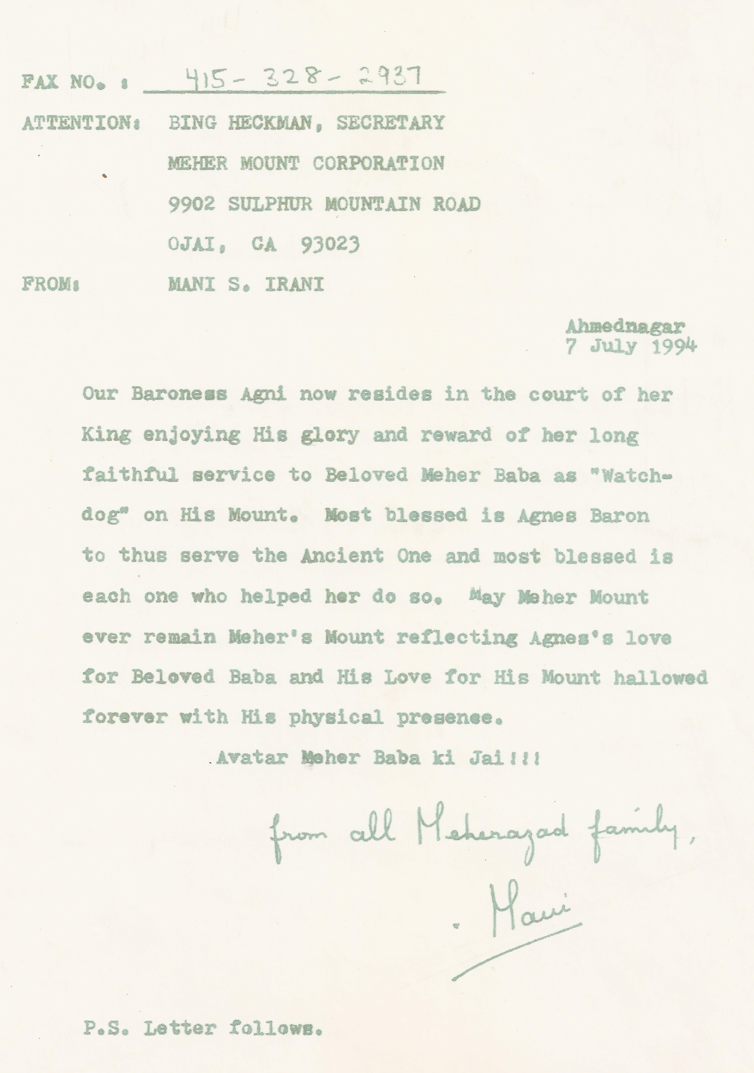 LETTER SENT TO MEHER MOUNT upon the death of co-founder Agnes Baron from Mani S. Irani, Meher Baba's sister and chairman of the Avatar Meher Baba Perpetual Public Charitable Trust in India.