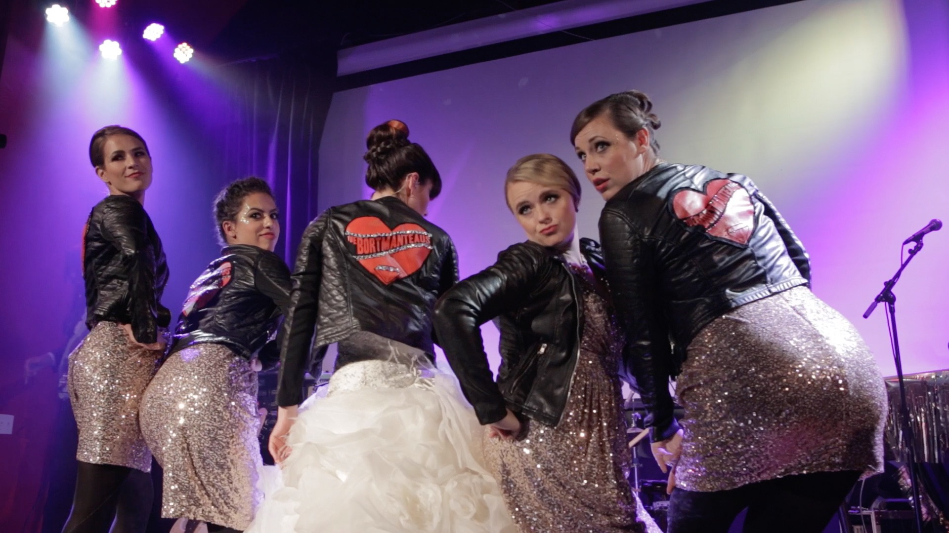 Bride bridesmaids custom leather jackets backup singers.jpg