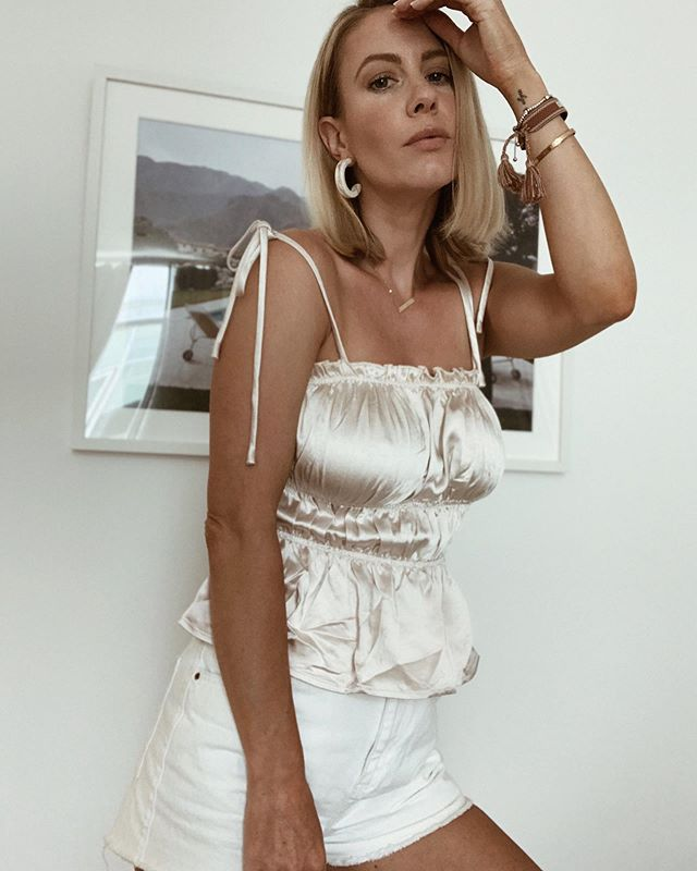 Didn't steam this top yet cuz was excited to try it on,  but can't wait to wear it out on a warm evening to dinner. Excuse the wrinkles #silkytop #sumerfashion #mystyle #instafashion #personalstyle #whatimwraring #sliceofvice #sexytop #summerstyle #tanktops #lookbook #styleblogger