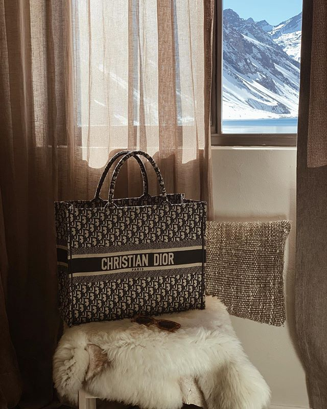 View from our room & my fave travel bag 〰️ #travelchile #skiportillo #winterinsummer #travels #sliceofvice #designerbags #dior #mystyle #lookbook #views #bloggerstyle #skistyle #travelstyle