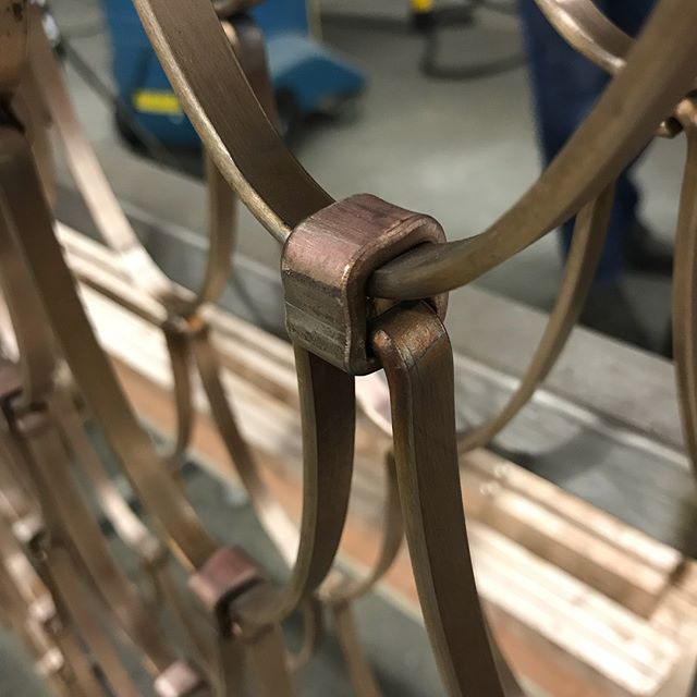 #balustrade details: a #forged cuff to join the meander. The completed patterns will be attached to the #bronze frames with a forged connection as well.