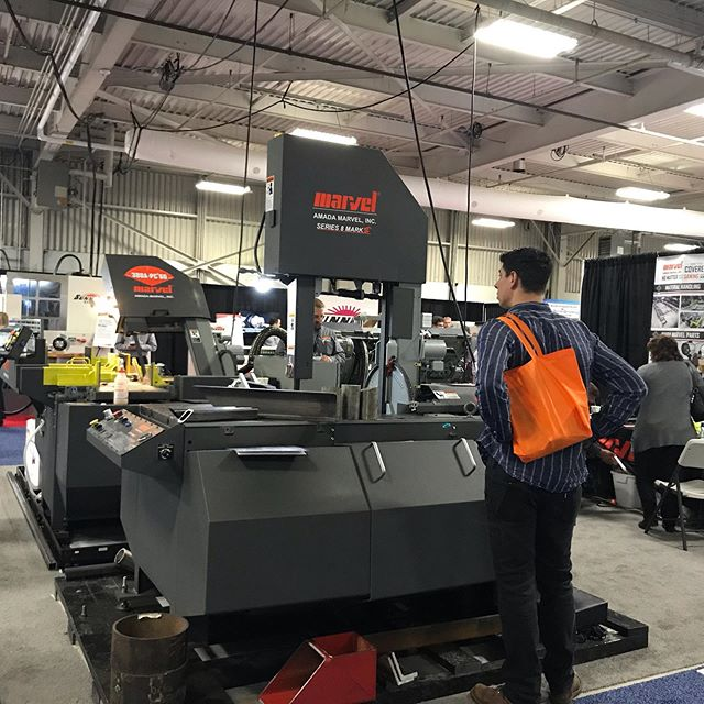 Dreaming big at #eastec  Met some lovely reps, found a machine that eats chips and lays pellets 🥚, and Isaac found his calling as a model for sandblasting equipment💃. It was a great day.  #tradeshow  #metalfab #metalshop #eastec2019 #windowshopping #toolsofthetrade