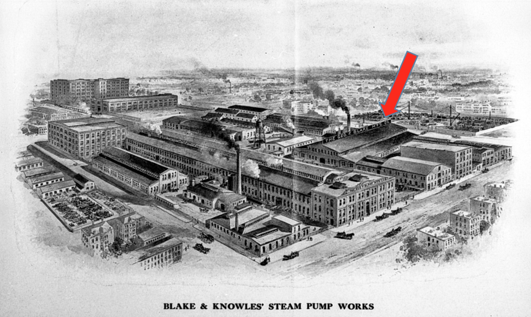 The arrow indicates the Foundry Building - Image circa 1910