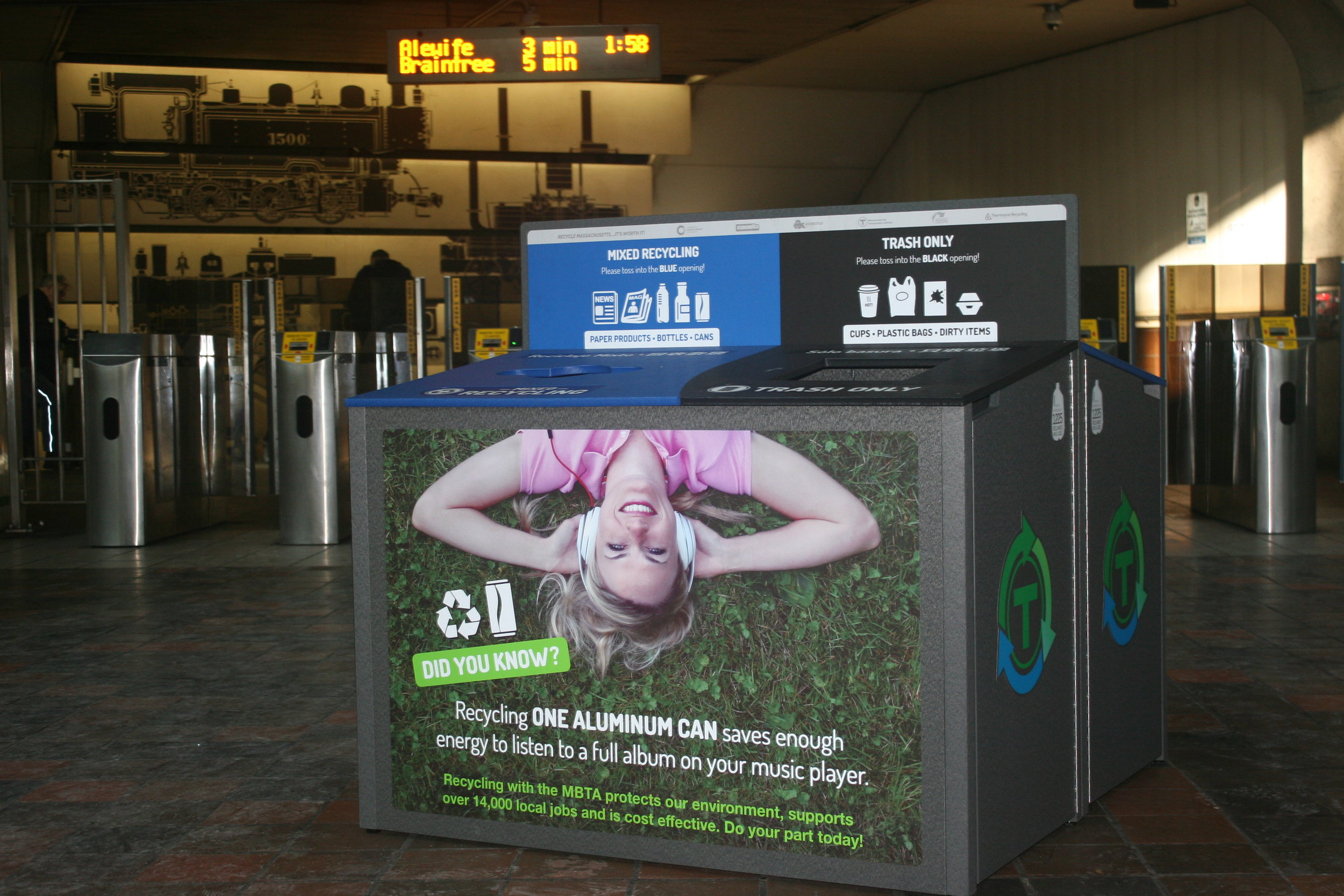 Mass Recycles MBTA Single Stream Recyling Kiosks, 2016 Infrastructure Project