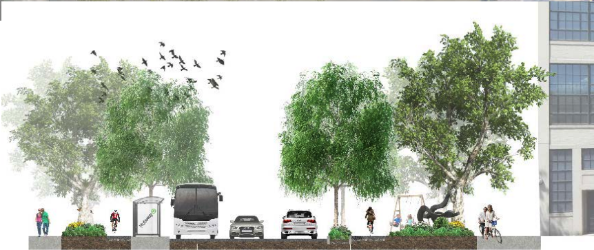 Proposed street view of Binney St between 5th and 6th St