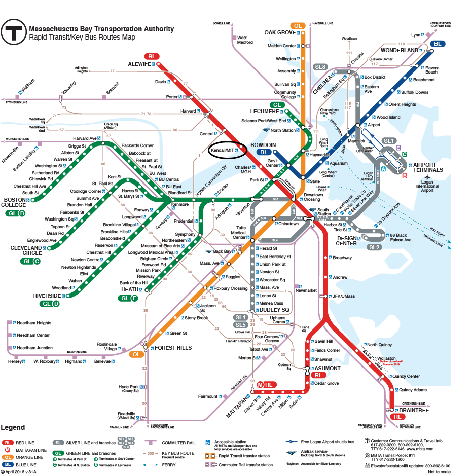 Kendall Square on the MBTA System Map
