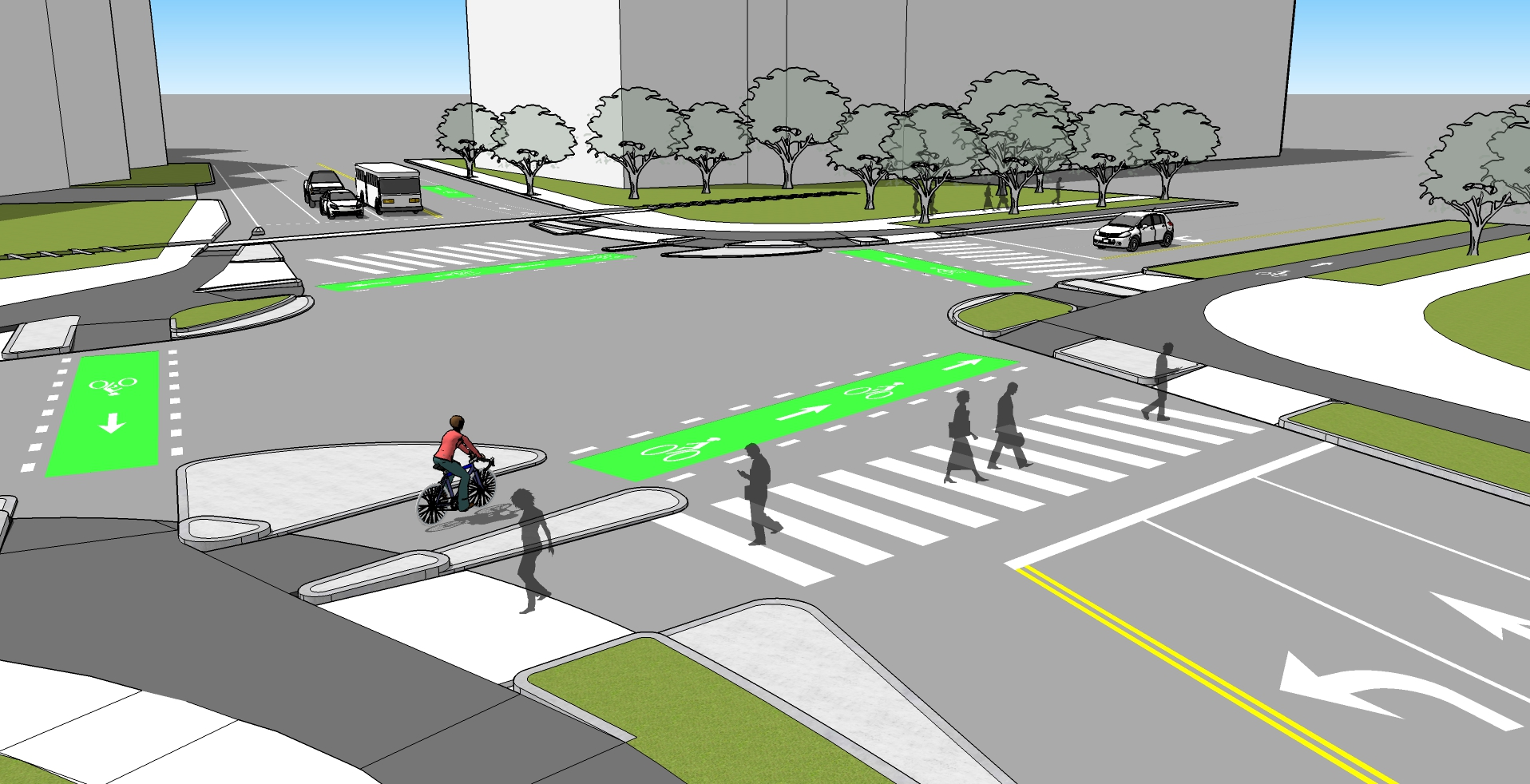 Example of a Protected Intersection.  Click here  to learn more.