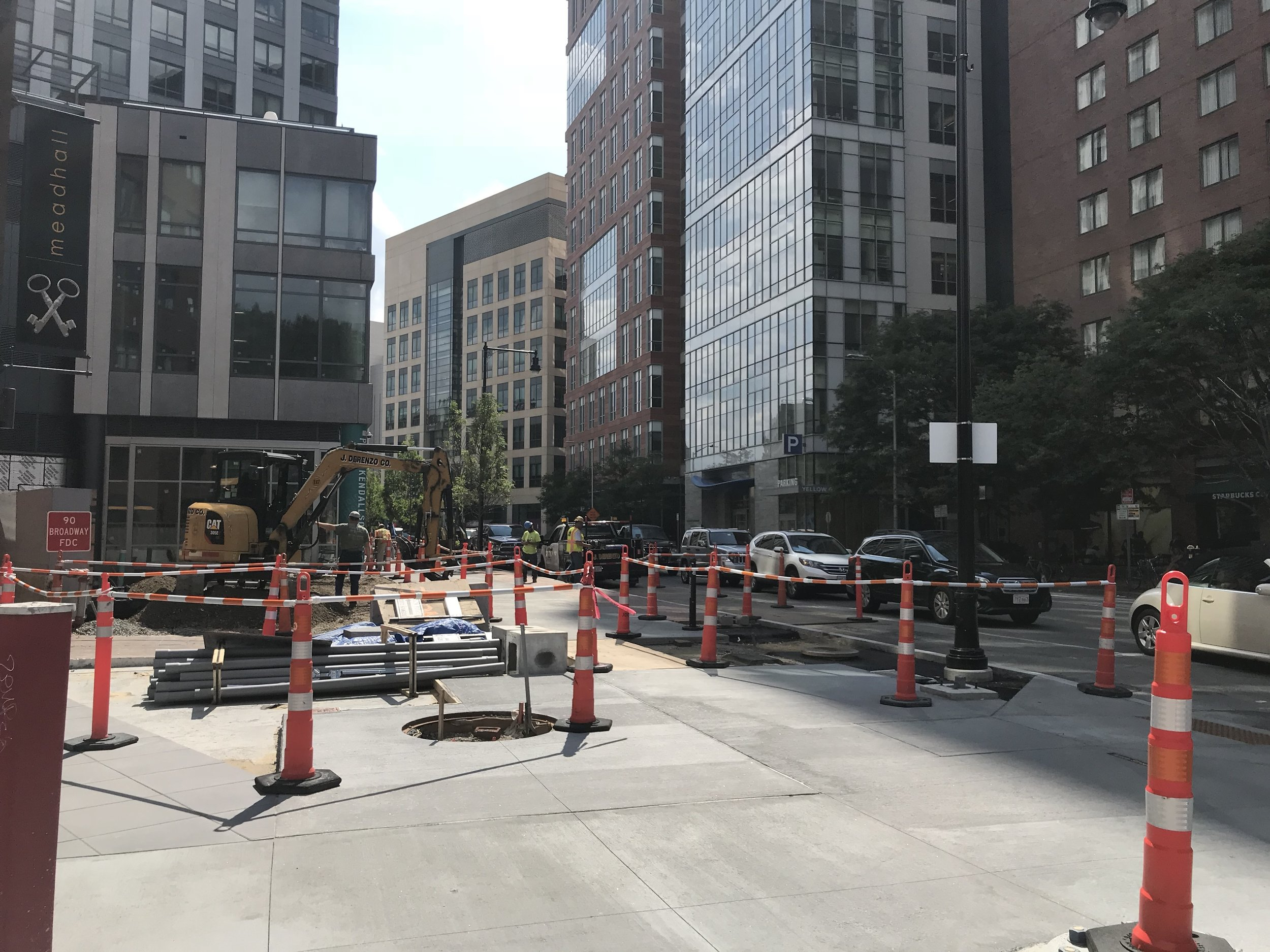 Ames Street construction in progress (August 2018)