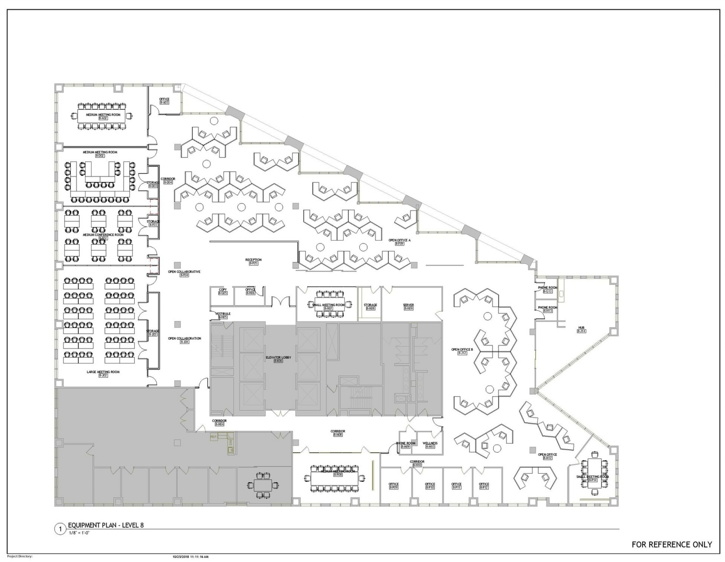 """Opportunity Space Floor Plan for The Link, 255 Main Street, 8th Floor; showing classrooms and meeting rooms that may also function as event spaces, small offices, and """"neighborhoods"""" of cubicles."""