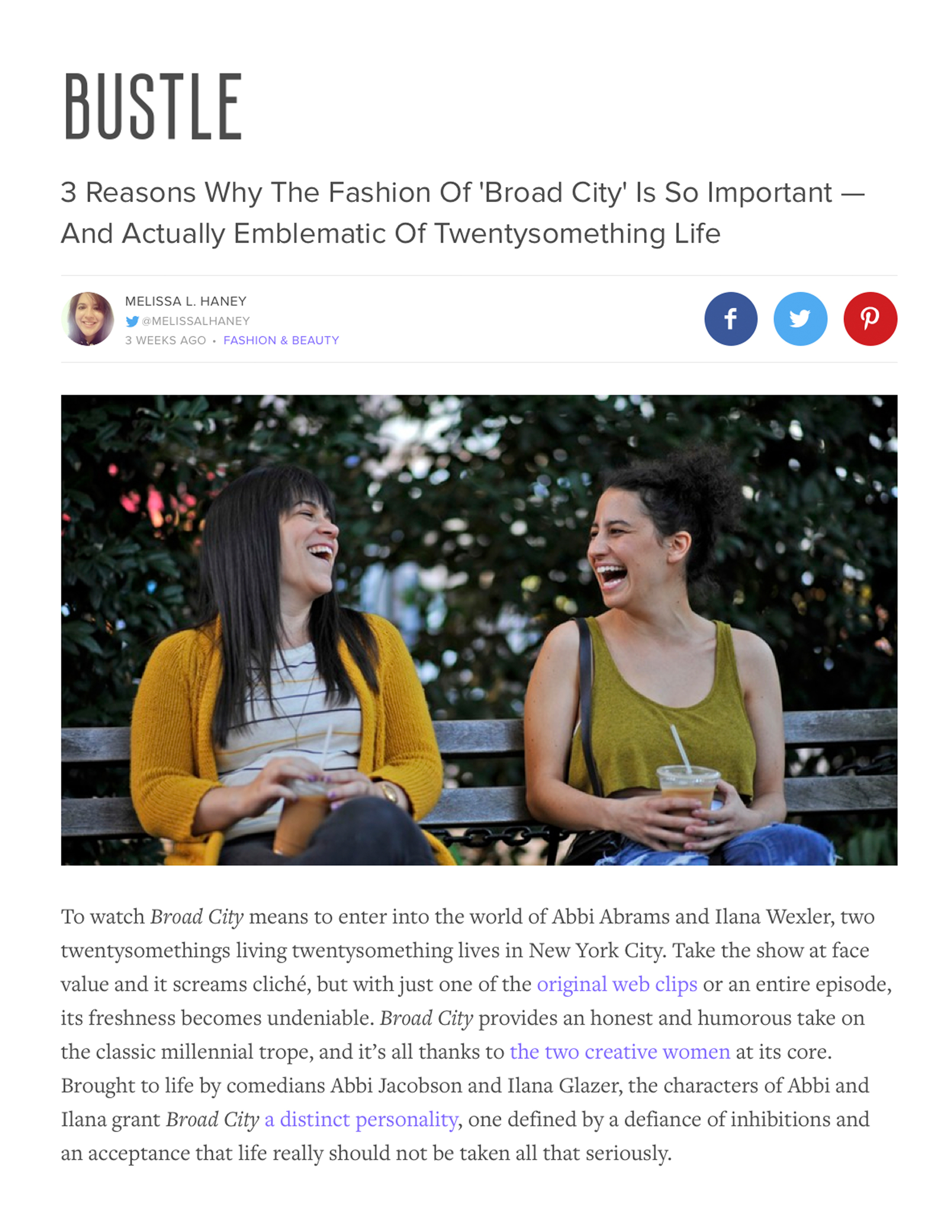 BUSTLE    3 REASONS WHY THE FASHION OF BROAD CITY IS SO IMPORTANT-- AND ACTUALLY EMBLEMATIC OF TWENTYSOMETHING LIFE    FEBRUARY 2015