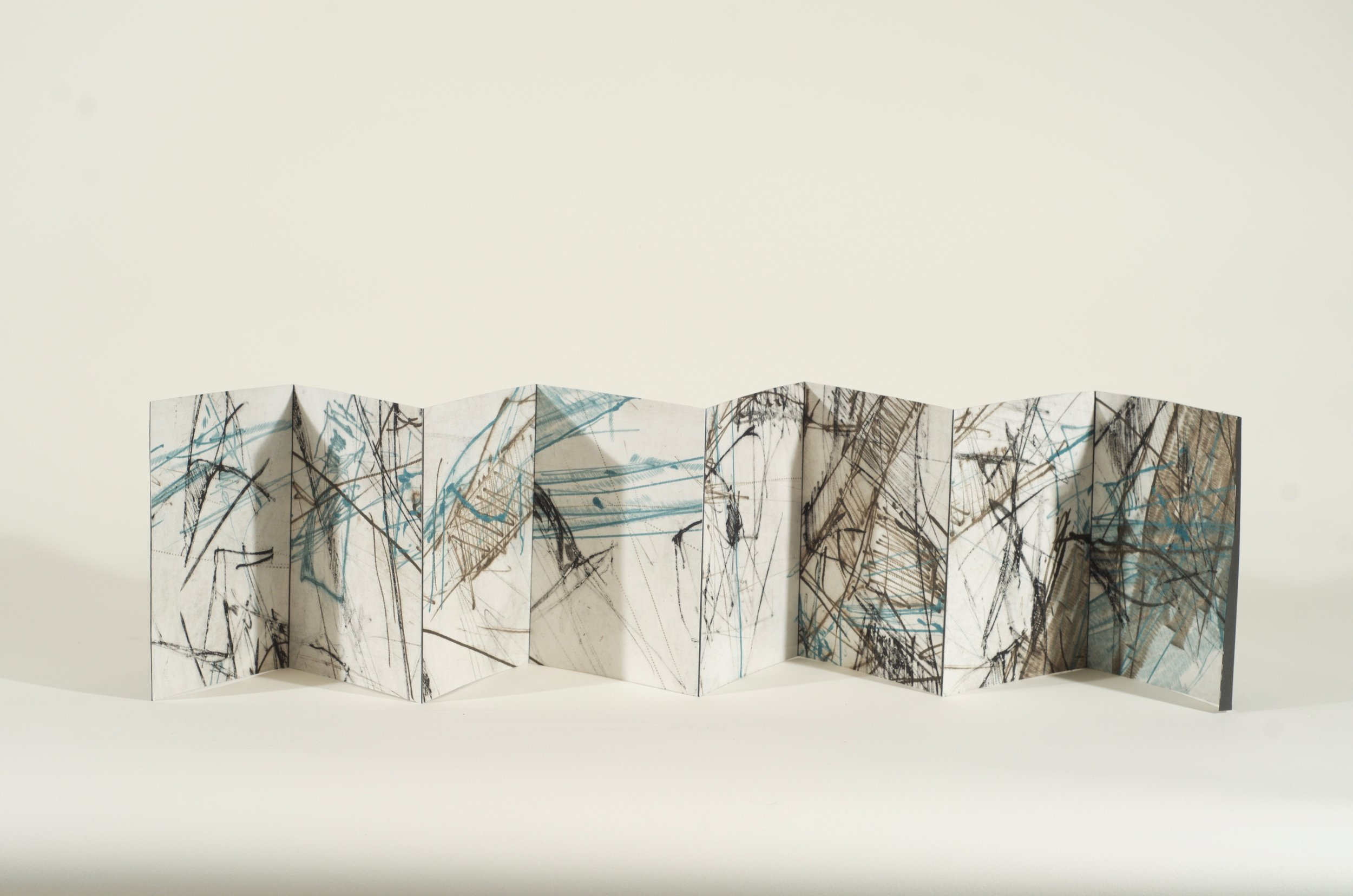 Untitled. Accordion book of drypoints, Variable edition of 10