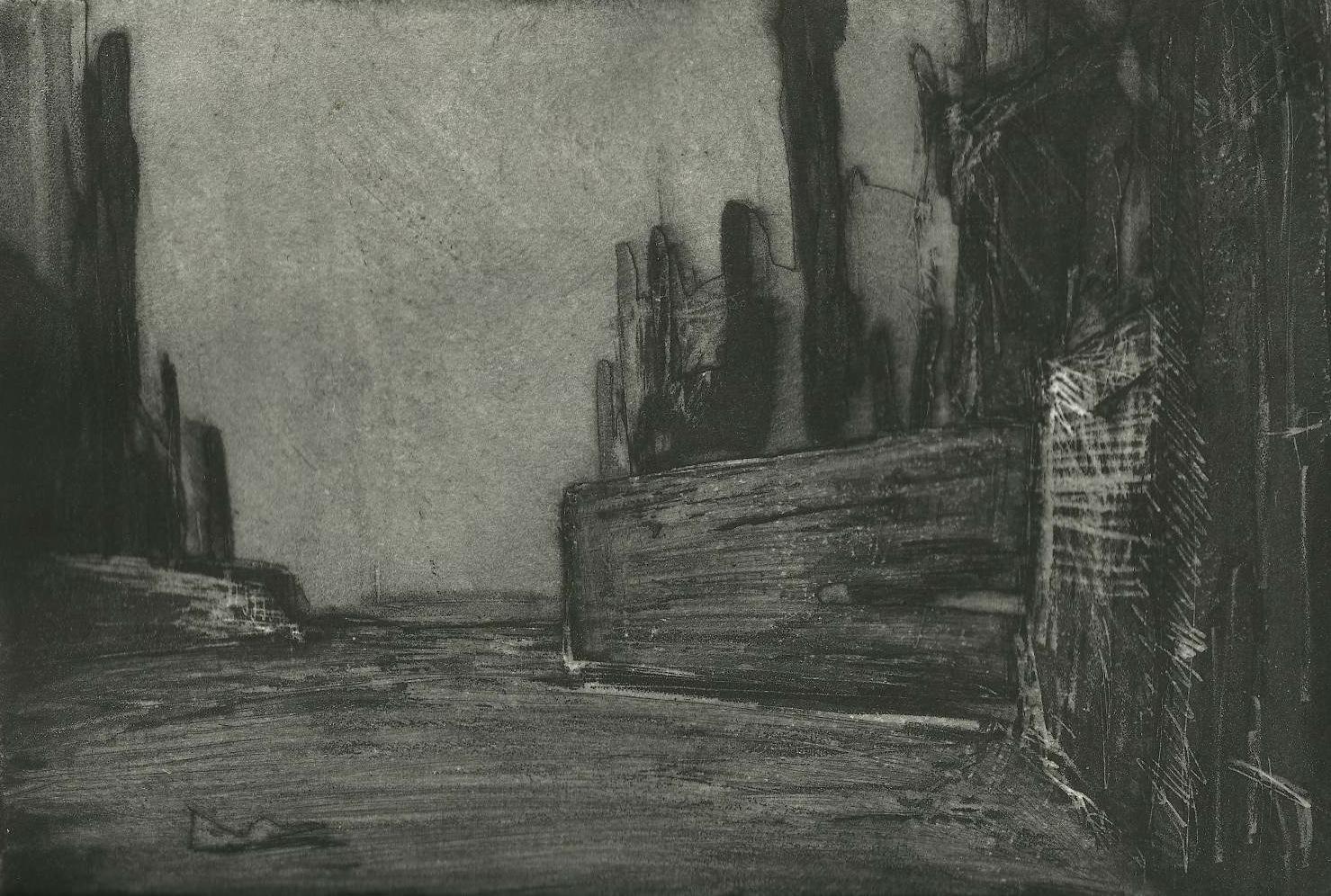 """Nocturne Wall  Intaglio  7"""" x 10"""""""