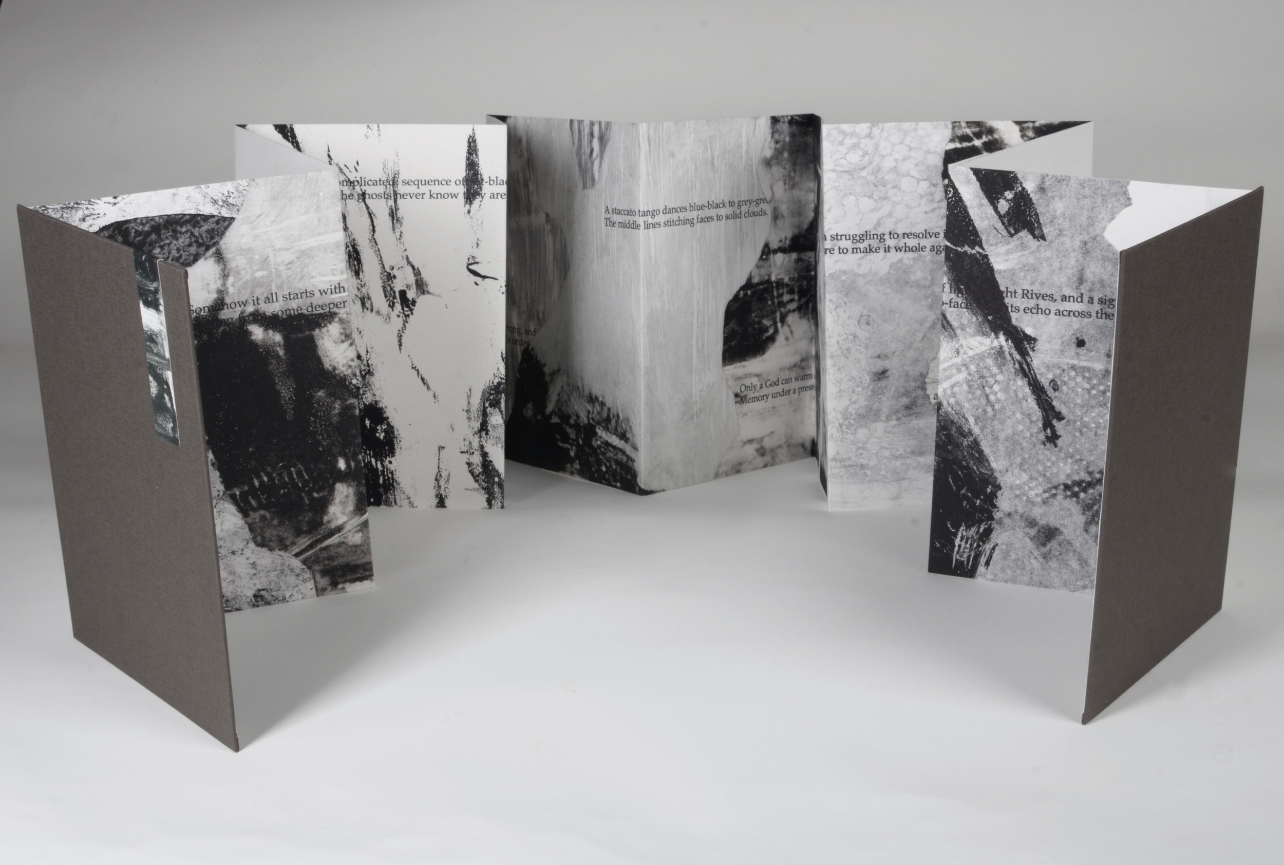 "Fragments  Accordion book, 12 panels. 10"" x 7"" closed. 10"" x 84"" open.  Monotype with letterpress"