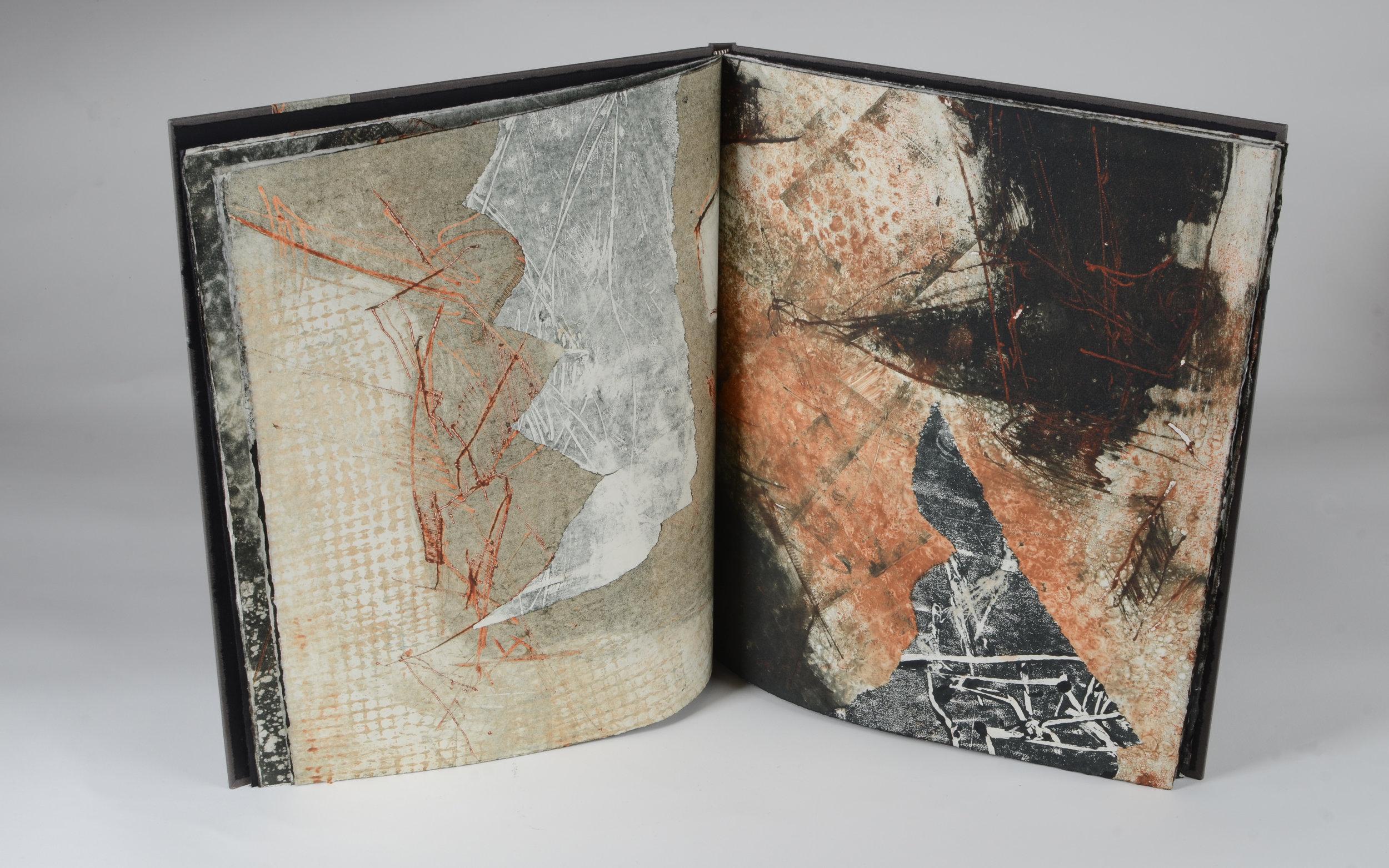 "Fog Frac/tured Pangea  Artist Book  16"" x 13""  Monotypes with letterpress"