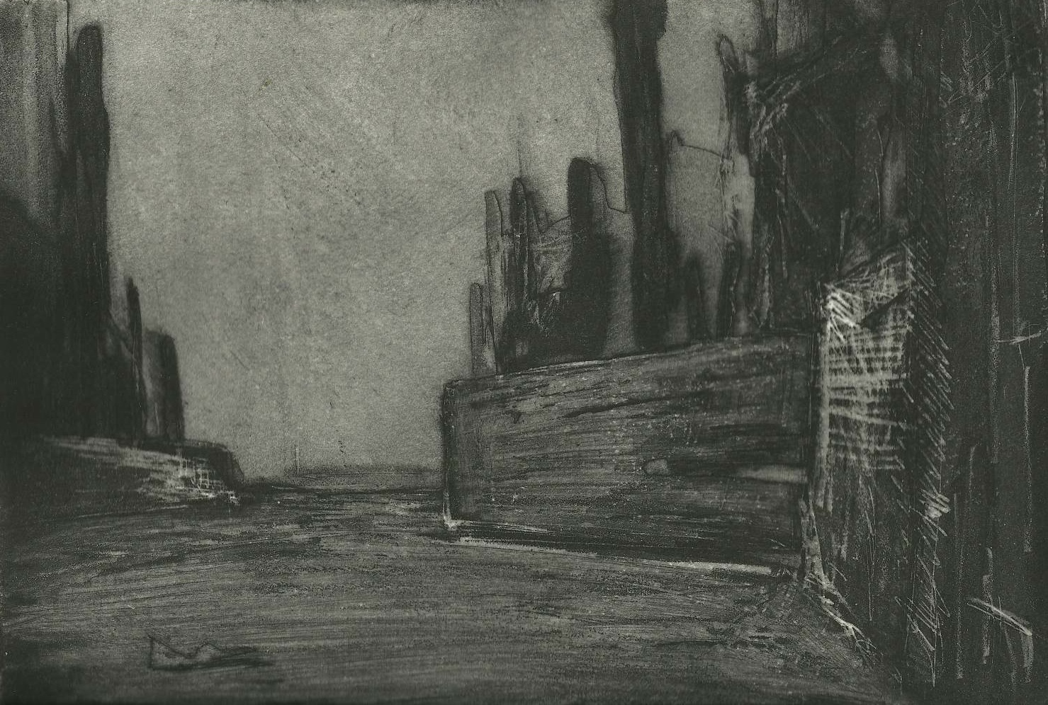 "Walls Nocturne  Intaglio  7"" x 10"""