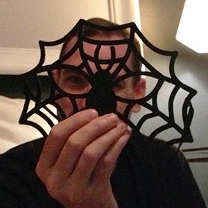 josh behind his creepy spider felt mask