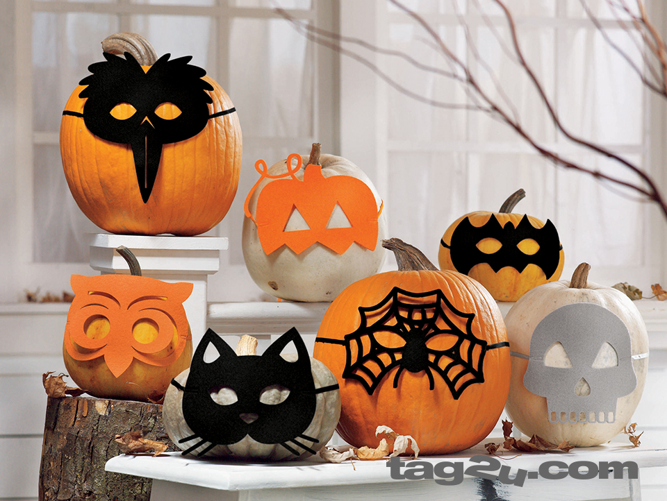 felt masks on pumpkins and gourds for an easy alternative to carving