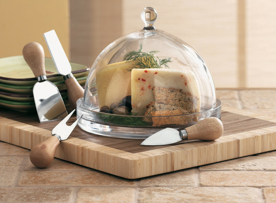 try a pretty cutting board and glass dome to wow your guests! all products made by tag.