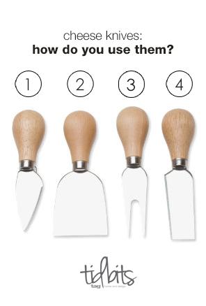 natural handled cheese knives set by tag