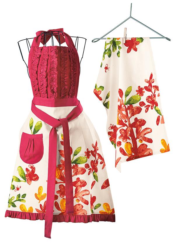 blossoms watercolor apron