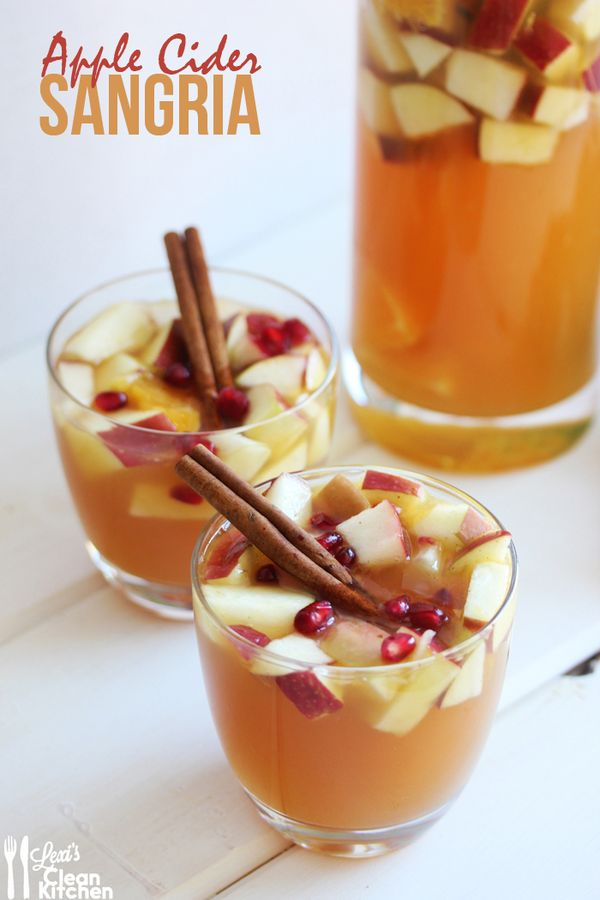 Pinterest  Apples, pears, oranges, cinnamon, cider, club soda, vodka, white wine, and cranberries. All you need to make this delicious spin on a cool refreshing drink!