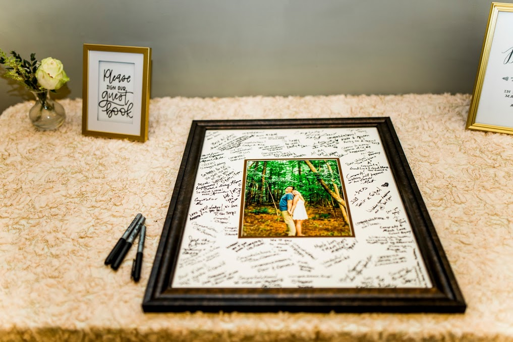 Kayla Coleman Photography     Different couples opt to have guest books that mean something to them. A guest book can be a great decoration in a couple's home. Picking a type of guest book is often personal preference. All the pictures above showcase different types of guest books. These couples chose a picture book, a shadow box, messages in a bottle and a picture frame. The interactive guest books where a guest does a little more than just sign is memorable for both the couple and the guest. These unique guest books are a great daily reminder for couples to remember their wedding by.